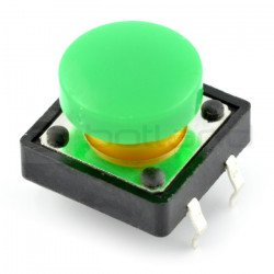 Tact Switch 12x12 mm with round cap - green