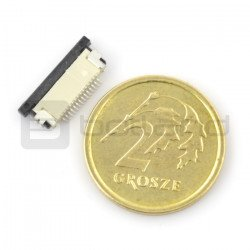 Female connector ZIF, FFC/FPC, horizontal 14 pin, raster 0.5 mm, lower contact