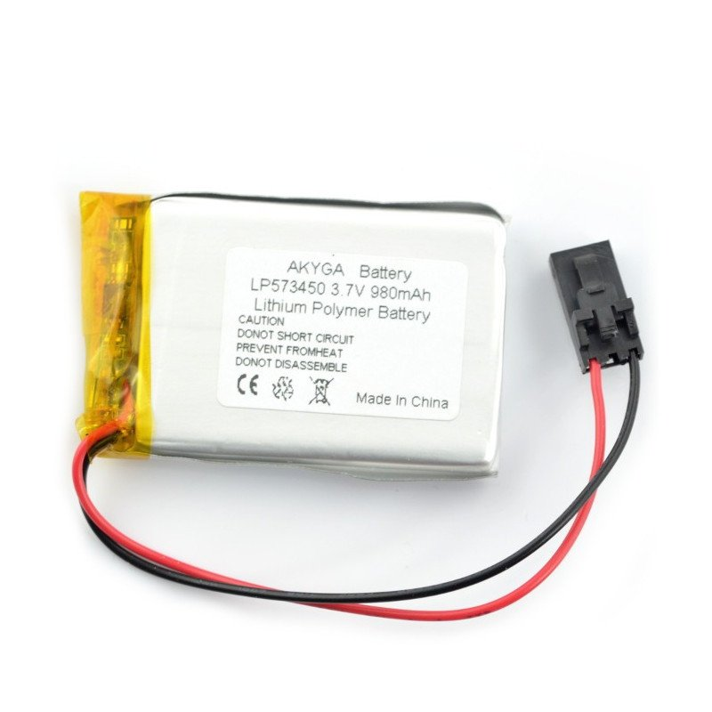 Li-Pol Akyga 980mAh 1S 3.7V Li-Pol Akyga 980mAh 1S 3.7V rechargeable battery - female connector 3-pin raster 2.54mm + adhesive