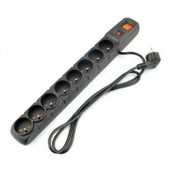 Power strip with Acar S8 protection black - 8 sockets - 1.5m