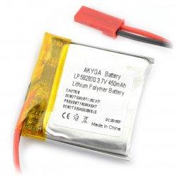 Li-Pol Akyga 450mAh 1S 3.7V battery - JST-BEC connector + socket