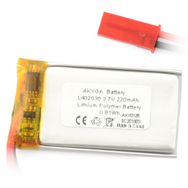 Battery Li-Pol Akyga 220mAh 1S 3.7V - JST-BEC connector + socket