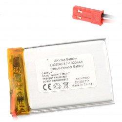 Battery Li-Pol Akyga 320mAh 1S 3.7V - JST-BEC connector + socket