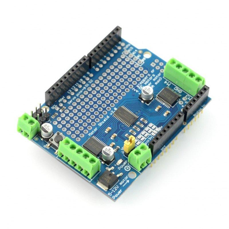 L293D driver DC motors, stepper motors and servos - 12V/1,2 A - panel for Arduino