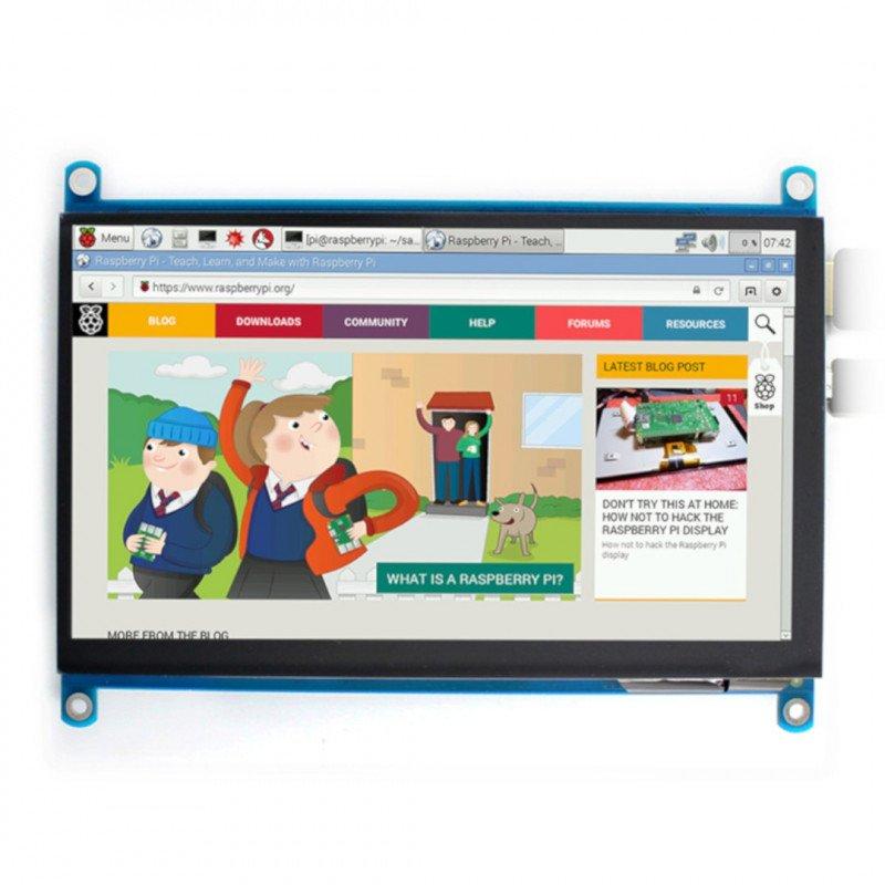 "Touch screen capacitive IPS LCD, 7"" (H) 1024x600px HDMI + USB for Raspberry Pi 3B+/3B/2B/Zero"