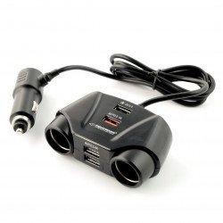 Car lighter adapter Esperanza Asti - 2 sockets + 4xUSB
