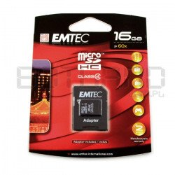 EMTEC micro SD / SDHC 16GB Class 4 memory card with adapter