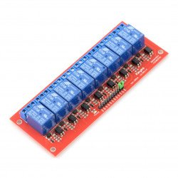 Relay module, 8 channels with optical isolation - contacts 7A/240VAC coil 12V
