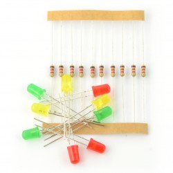 Set of 5mm LEDs 10pcs with resistors