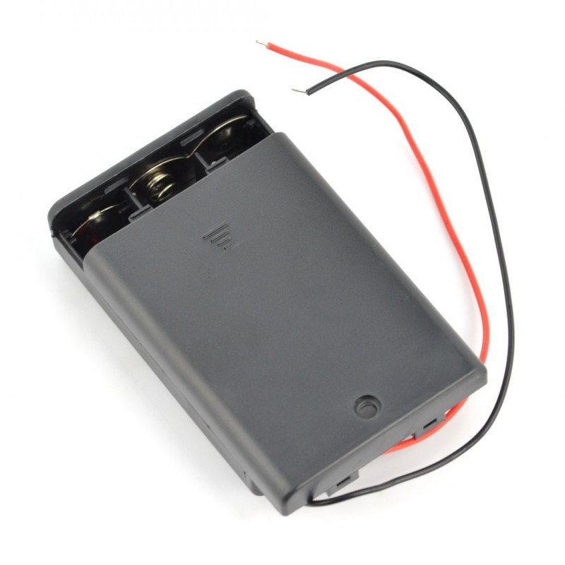 Basket for 3 AA (R6) type batteries with cover and switch