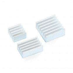 Set of heat sinks for Raspberry Pi - silver with thermal conductive tape - 3pcs.