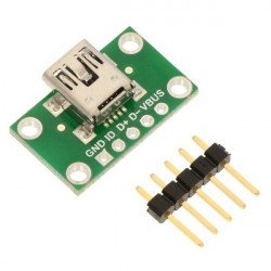 Mini-usb type B 5 pin socket to pin tiles - Pololu