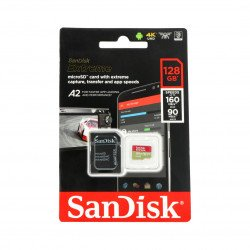 SanDisk microSDXC memory card 128 GB Extreme 160MB/s UHS-I U3 Class A2 with adapter