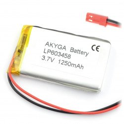 Battery Li-Pol Akyga 1250mAh 1S 3.7V - JST-BEC connector + socket