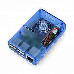 Raspberry Pi 4B housing with fan - blue transparent