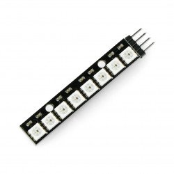 RGB LED strip WS2812 5050 x 8 diodes - 53mm - soldered connectors