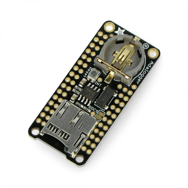 Adalogger FeatherWing - module with RTC clock and a microSD slot for Feather series