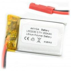 Battery Li-Pol Akyga 250mAh 1S 3.7V - JST-BEC connector + socket