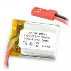 Li-Pol Akyga 150mAh 1S 3.7V battery - JST-BEC connector + socket