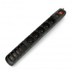 Power strip with Acar S10 protection black - 10 sockets - 1.5m