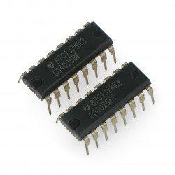 Logic CD4026 digital counter, decoder 7-segment THT