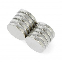 Round neodymium magnet N35/Ni 20x3mm - 10 pcs.