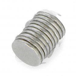 Round neodymium magnet with adhesive layer S N35/Ni - 10x1mm