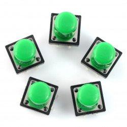Tact Switch 12x12 mm z nasadką - długi zielony