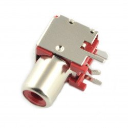 Angled female RCA socket, shielded THT with red marker