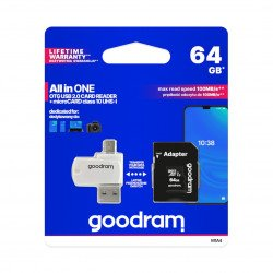 Goodram All in One 64GB- OTG card reader+ microCard + Adapter