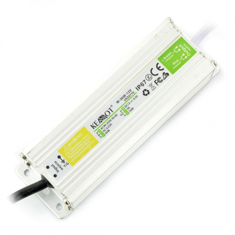 Power supply W-36W-12V LED Strip Waterproof IP67 - 12V / 3A / 36W