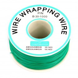 Insulated PVC Coated 30AWG Wire Wrapping Wires Reel 1000Ft - green