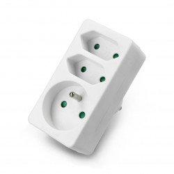 Triple splitter for AC 230V socket - 2 flat, 1 round