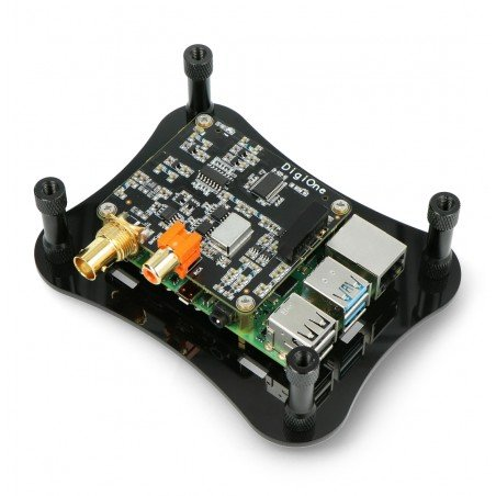 Case for Raspberry Pi 4B and for Allo DigiOne - acrylic - black