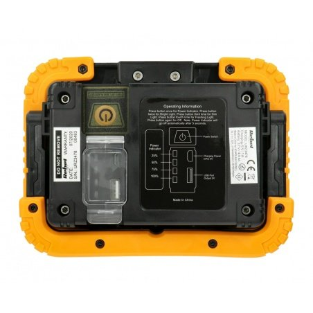 Rechargeable LED floodlight with USB cable, 10W, 900lm, IP44
