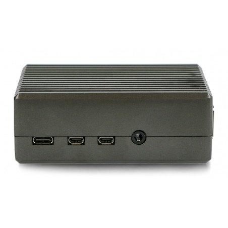 Case for Raspberry Pi 4B - with cutouts - aluminum - graphite
