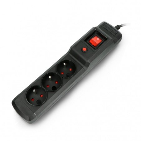 Power strip with protection Armac Multi M3 black - 3 sockets -