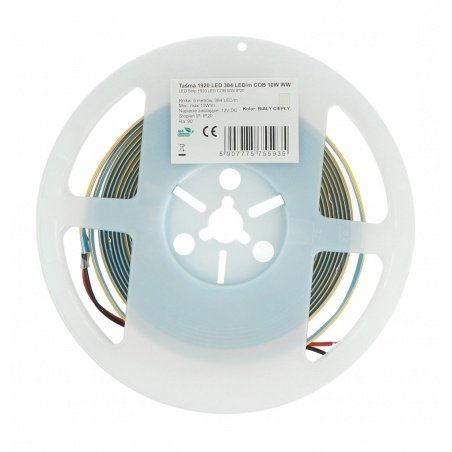LED strip COB 12V IP20 10W/m 384diodes/m - warm white color - 5m