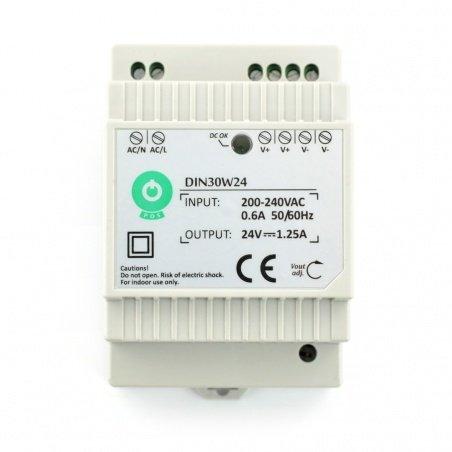 Power supply DIN30W24 for DIN rail - 24V / 1,25A / 30W