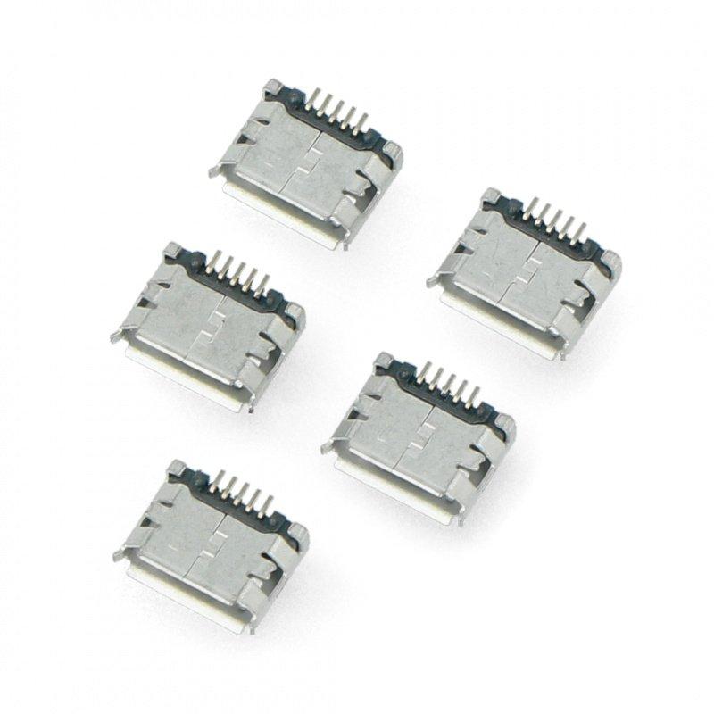 MicroUSB socket type B - SMD - 5pcs.