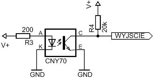 Przykład podłączenia CNY70