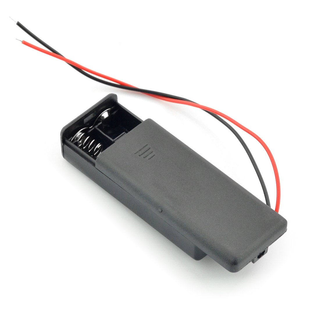 Koszyk na 2 baterie AAA z pokrywą i włączikiem