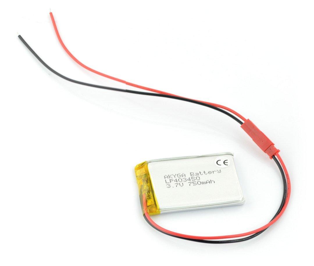 Akumulator Li-Pol Akyga 3,7V 1S 750mAh konektor+gniazdo 2,54 JST - 2 piny - 50x34x4,4mm