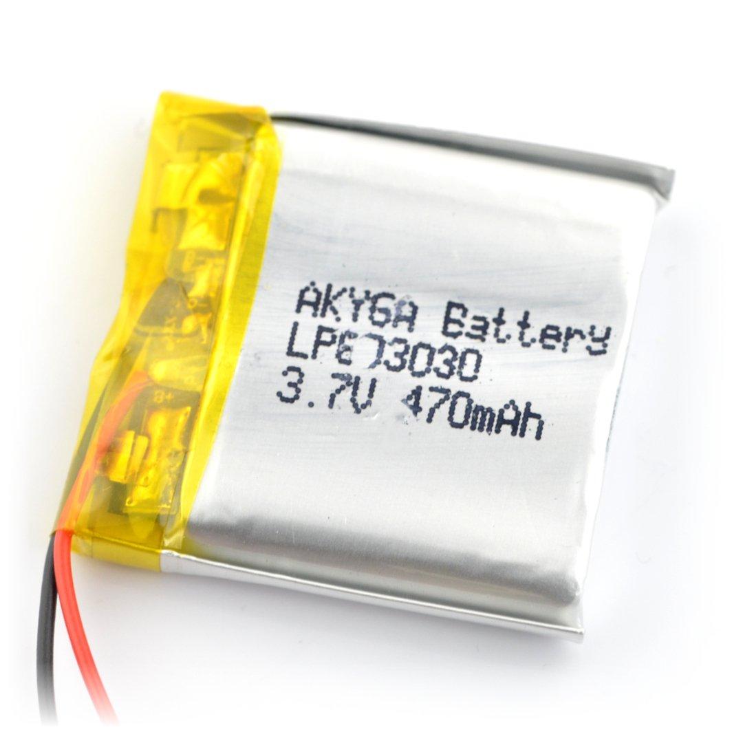 Akumulator Li-Pol Akyga 470mAh 1S 3,7V - złącze JST-BEC + gniazdo