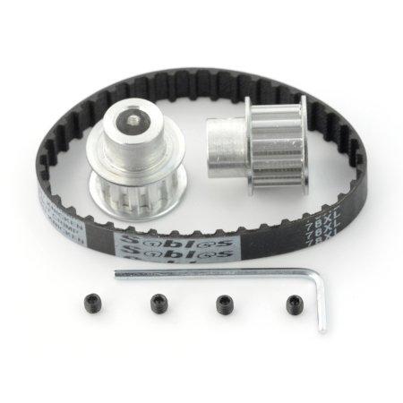 Pas zębaty 10 x 180 mm + koło zębate 12T - 8 mm - 2 szt.