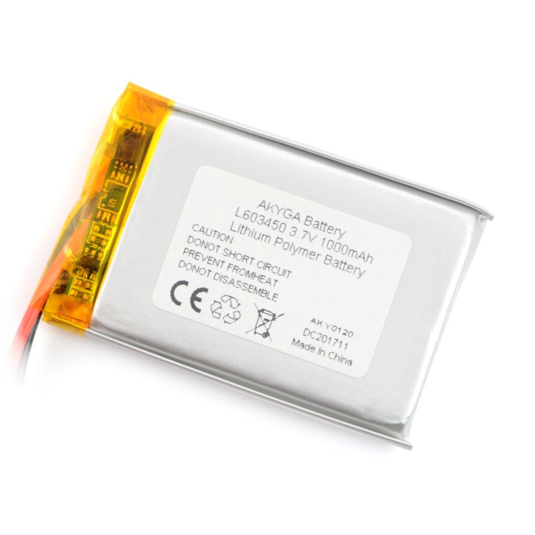 Akumulator Li-Pol Akyga 3,7V 1S 1000mAh przewody 100 mm