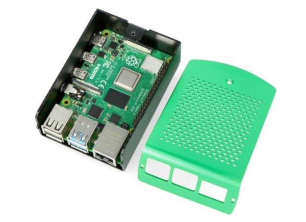 Obudowa do Raspberry Pi 4B aluminiowa Vesa - zielona LT-4B01-A