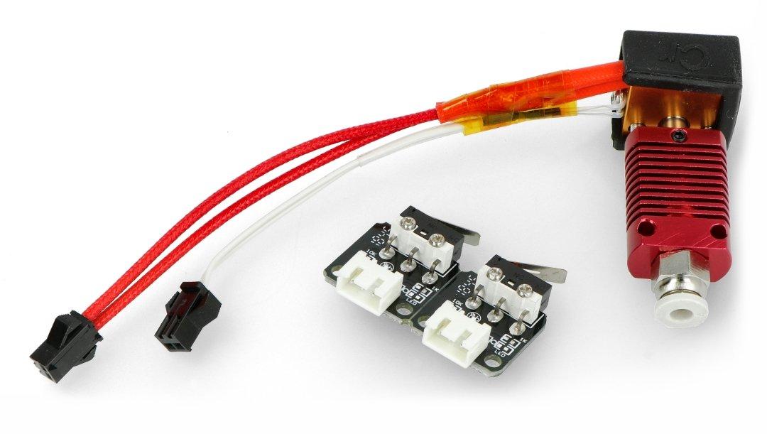 Zestaw zawiera moduł wyłącznika krańcowego oraz głowice hotend