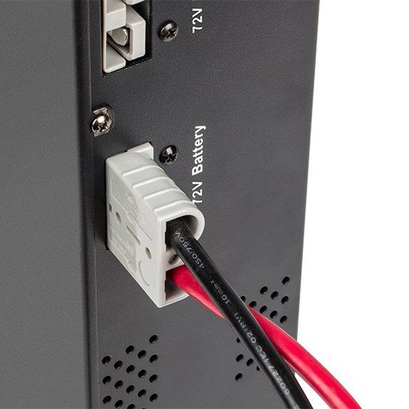 Urządzenie łączy się z UPS przy użyciu specjalnych przewodów z zarobioną wtyczką, dzięki czemu wykonanie takiego połączenia jest bardzo łatwe.