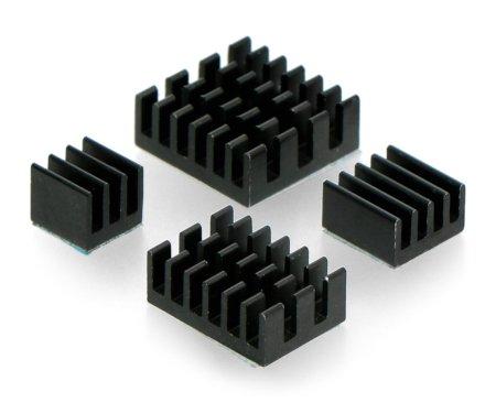 Zestaw radiatorów do Raspberry Pi 4 - czarne z taśmą termoprzewodzącą - 4 szt.